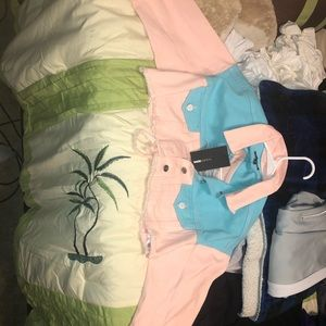 Cotton Candy half jean jacket